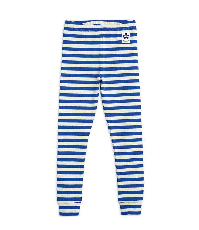 Mini Rodini Stripe rib legging Blue