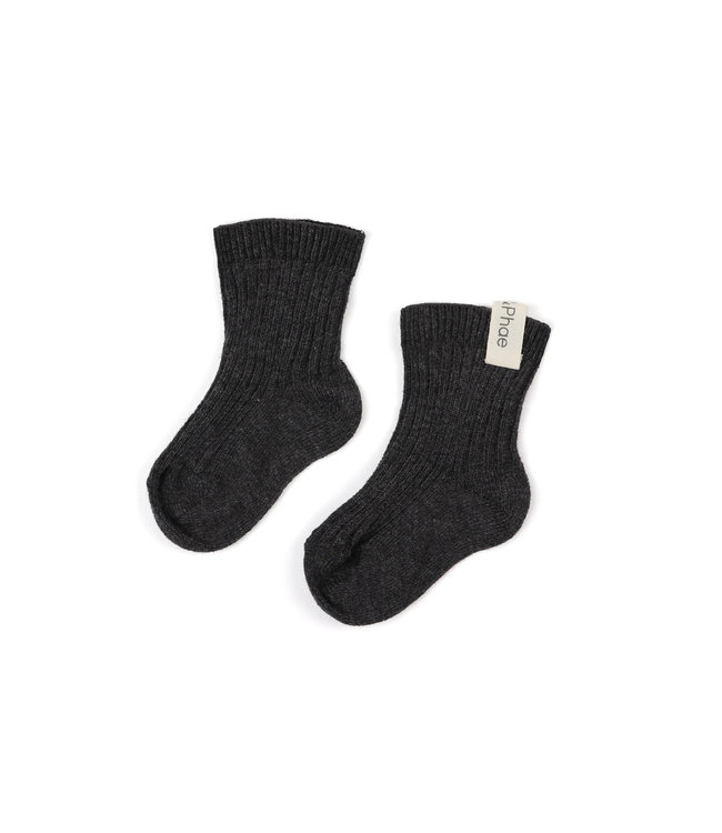 Phil&Phae Ribbed baby socks Charcoal