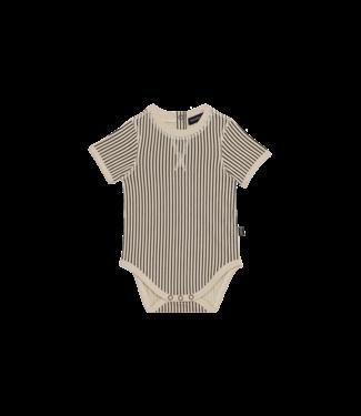 House of Jamie Crewneck Bodysuit Charcoal stripes