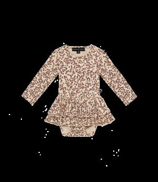 House of Jamie Ruffled bodysuit dress Golden rose dawn blossom