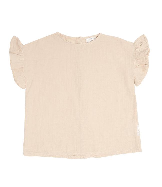 Petit Blush Loua Frill blouse Sandshell