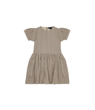 House of Jamie Relaxed pocket dress Charcaol stripes