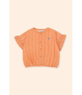 Tiny Cottons Tiny Flowers frill shirt papaya/red