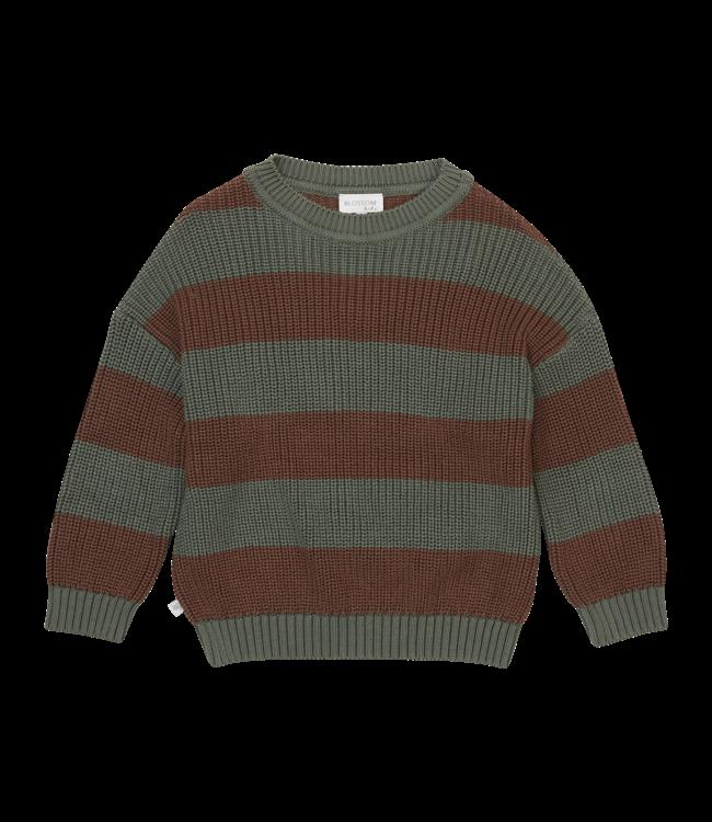 Blossom Kids Knitted jumper stripes Forest Green