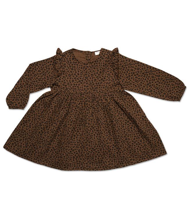 Petit Blush Julie Ruffle dress Brown leopard