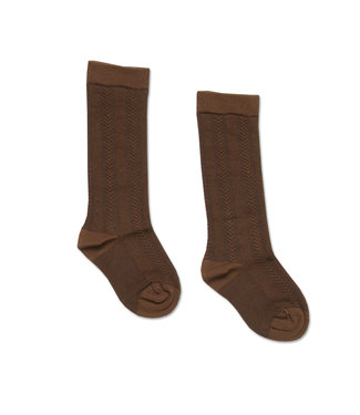 Petit Blush Knee Socks Embroidery Brown