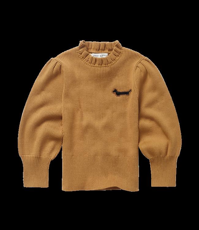 Sproet & Sprout Sweater Turtleneck Ruffle Mustard