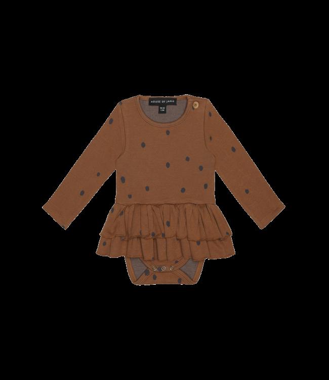 House of Jamie Ruffled Babysuit dress Gingerbread Dots