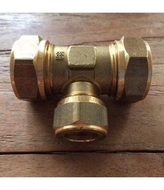 Huismerk knel T-stuk messing diverse maten  water/gas