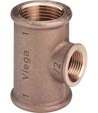 Huismerk verloop t-stuk bi 3/4 1/2 3/4 brons  water/gas
