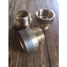 Kraanverlengstuk/ neusstuk brons  huismerk gas/ water