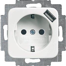 Abb Busch-Jaeger SI wandcontactdoos inbouw enkel randaarde m. USB aansluiting wit 2011-0-6157