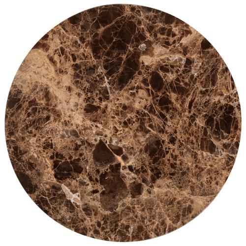Richmond Interiors  Bijzettafel Dalton brown emperador rond 40Ø (Bruin)