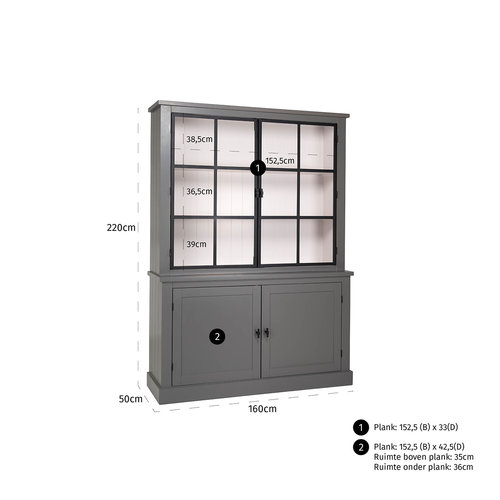 Richmond Interiors  Buffetkast Knox 2x2-deuren (metalen deuren)