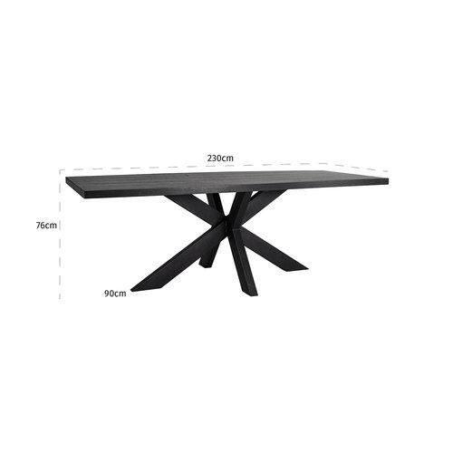 Richmond Interiors  Eettafel TOP Oakura 230x95 (Zwart)