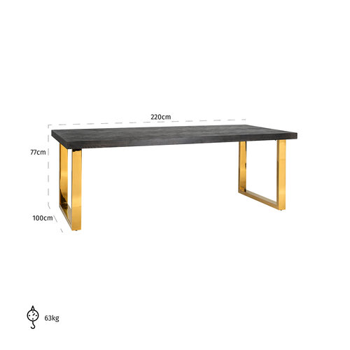 Richmond Interiors  Eettafel Blackbone gold 220 (Goud)