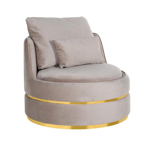 Richmond Interiors  Fauteuil Kylie Khaki velvet / gold (Quartz Khaki 903)