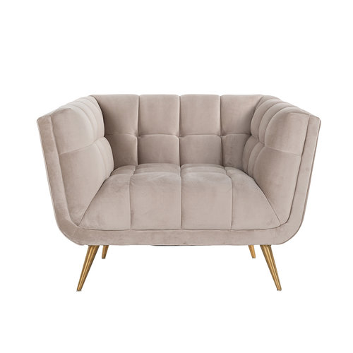 Richmond Interiors  Fauteuil Huxley Khaki velvet / Brushed gold (Quartz Khaki 903)