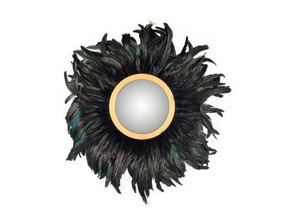 Richmond Interiors  Spiegel Madlen met veren (Zwart)