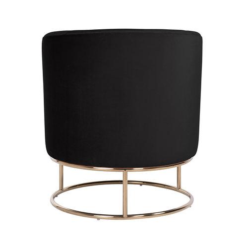 Richmond Interiors  Fauteuil Felicia Black velvet / gold (Quartz Black 800)