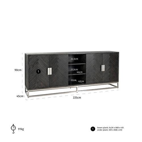 Richmond Interiors  Dressoir Blackbone silver 4-deuren + open vak (Zilver)