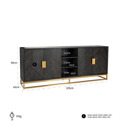 Richmond Interiors  Dressoir Blackbone gold 4-deuren + open vak (Goud)