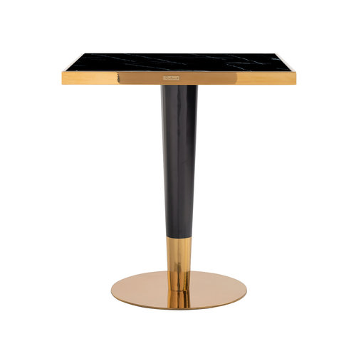 Richmond Interiors  Eettafel Can Roca square black 70x70 (Goud)