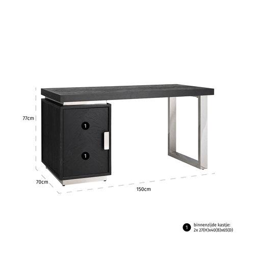 Richmond Interiors  Bureau Blackbone silver 1-deur (Zilver)