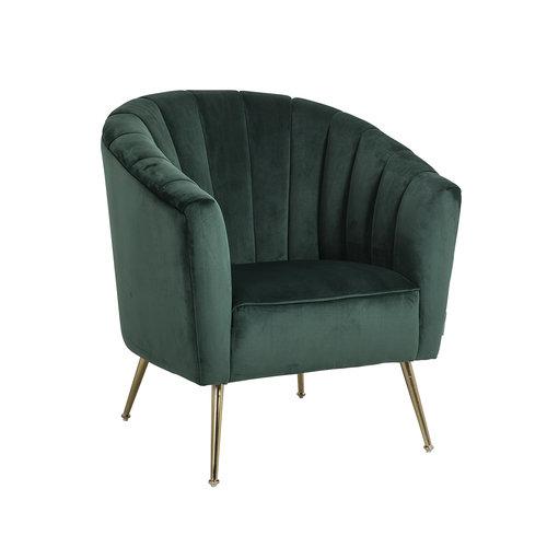 Richmond Interiors  Fauteuil Shelly Green velvet / goud (Quartz Green 501)