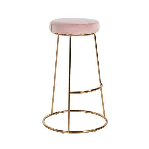 Richmond Interiors  Barstoel Brandy Pink Velvet / goud (Quartz Pink 700)