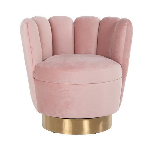 Richmond Interiors  Fauteuil Mayfair Pink velvet / gold (Quartz Pink 700)