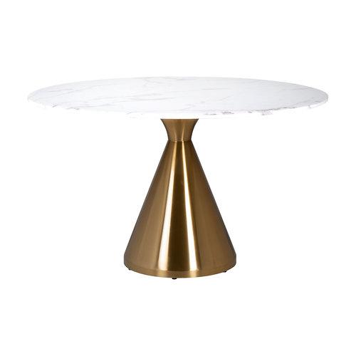 Richmond Interiors  Eettafel Tenille rond 130Ø faux marmer (Brushed Gold)