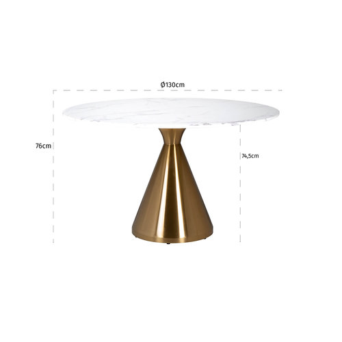 Richmond Interiors  Eettafel Tenille rond 130Ø faux marmer (Brushed Gold)