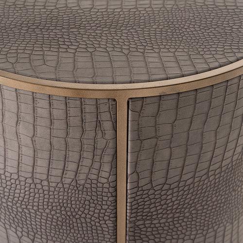 Richmond Interiors  Bijzettafel Classio 45Ø Vegan Leather (Brushed Gold)