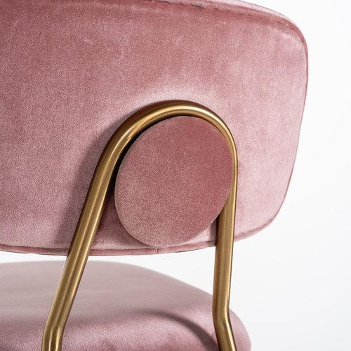 Richmond Interiors  Barstoel Xenia Blush Velvet / Brushed Gold (Genova 706  Blush)