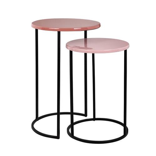 Richmond Interiors  Bijzettafel Yoke roze set van 2 (Roze)