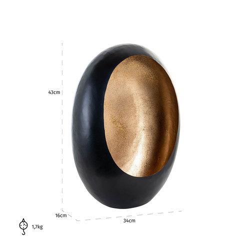 Richmond Interiors  Kandelaar Civan zwart met goud glitter medium (Zwart)