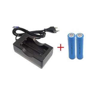 Scuba Support Charger for 18650 Li-ion battery, complete with 2 Batteries (2200mA