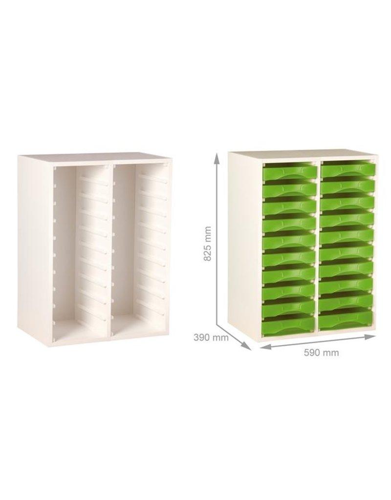 Starbox meubel Duo voor 20 Plateau werkbakken (A4), meubel wit)