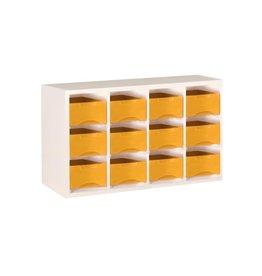 Starbox meubel Starbox werkbakjes hoog, horizontaal 3x4,  wit/hout (H470xB780xD290)