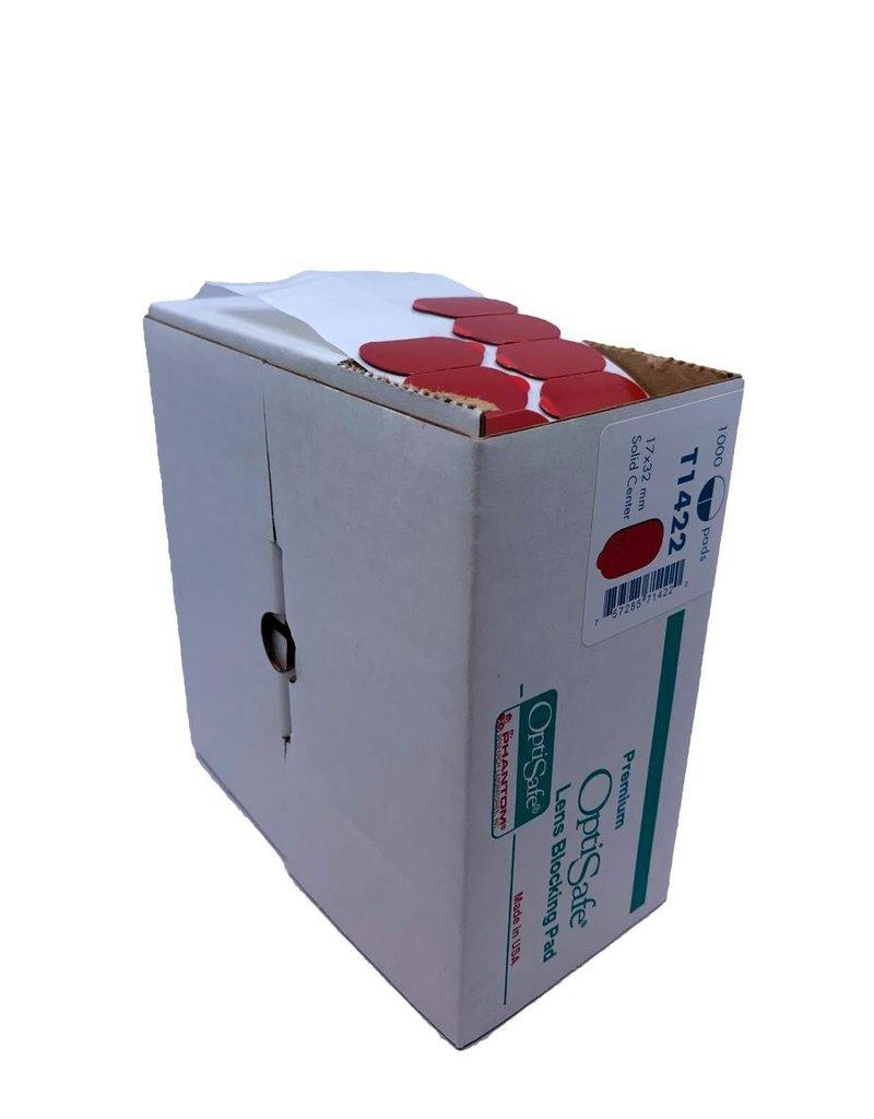 Nidek Optisafe glasplakkers / blocking pads (T1422) 17x32mm solid center