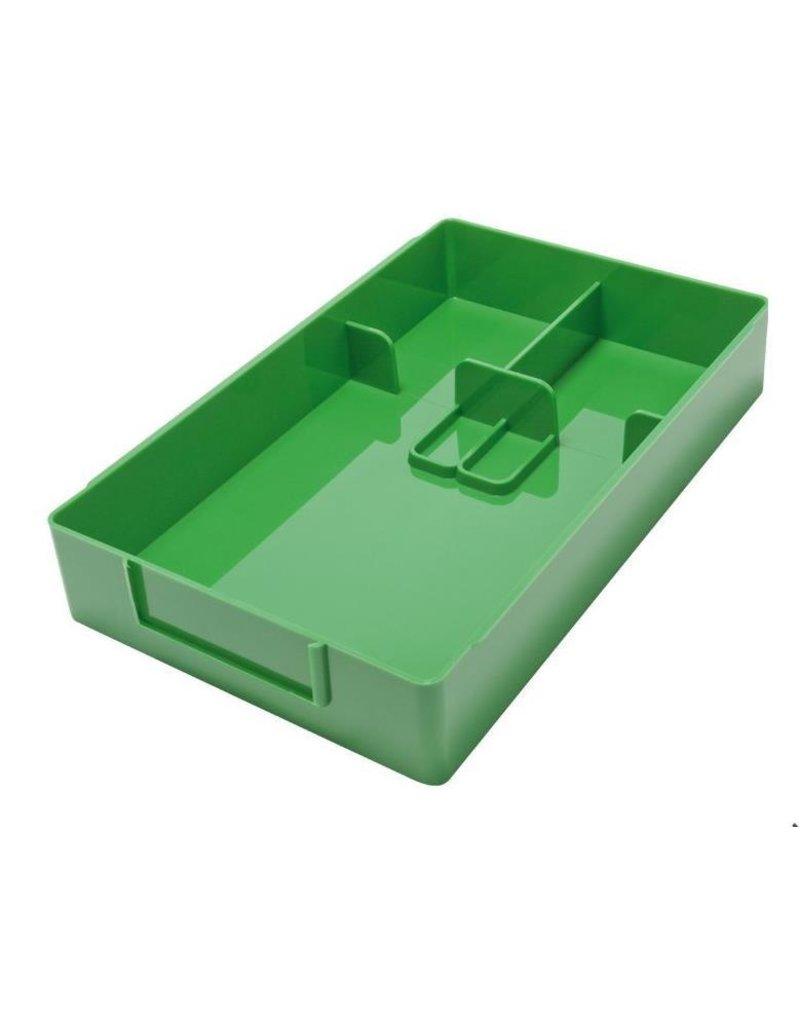 Werkbakje met vakverdeling glas en schroeven in 7 verschillende kleuren