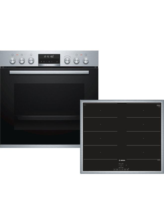 Bosch HND679OS60 inbouw oven met inductiekookplaat set