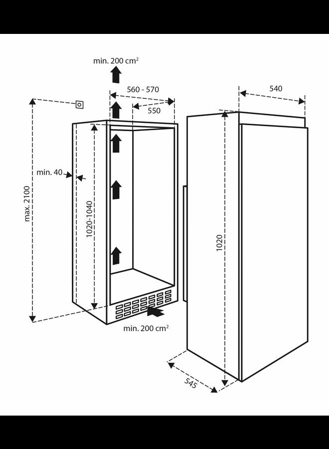 Inventum K1020V inbouw koelkast 102 cm