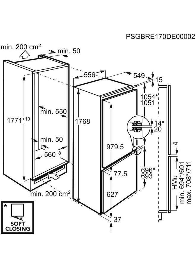 AEG S1824N inbouw koelvriescombinatie 178 cm A++