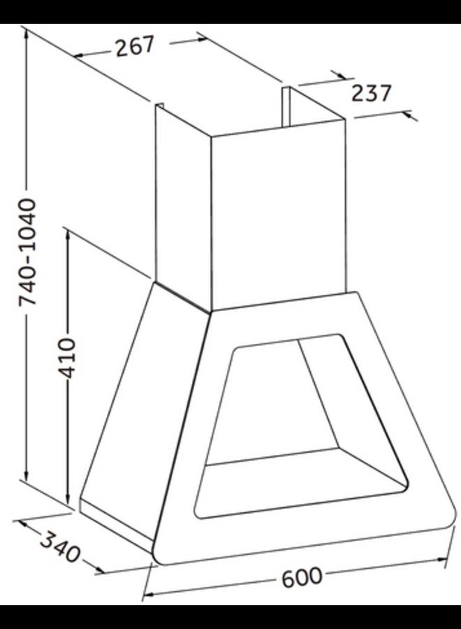 PKM P1-60BBTX afzuigkap 60 cm Zwart