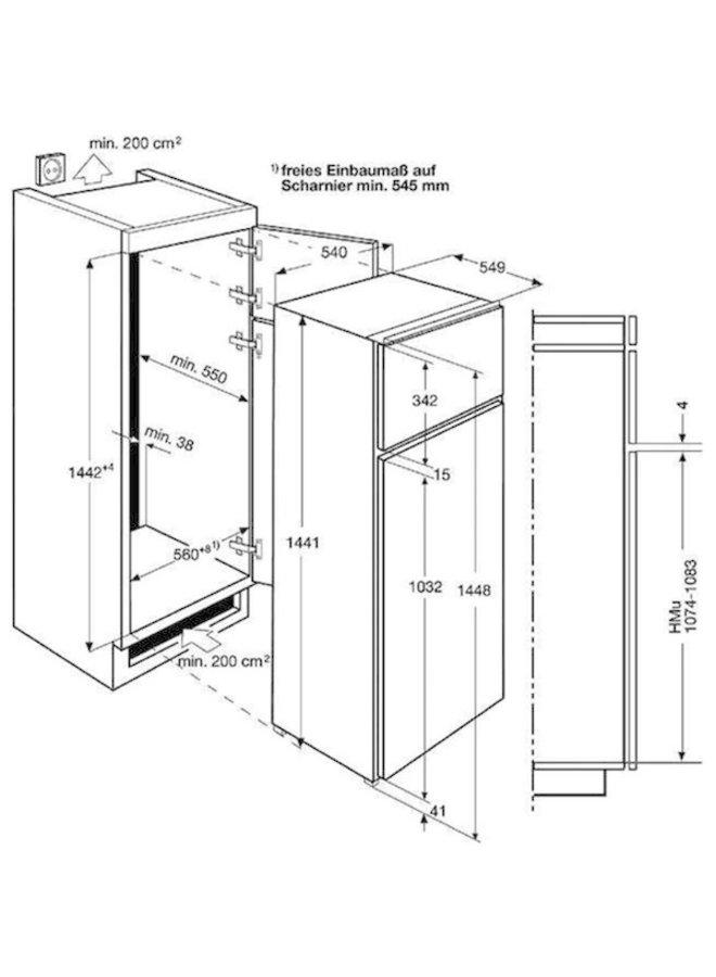 AEG SDE614F1AS inbouw koelkast 145 cm