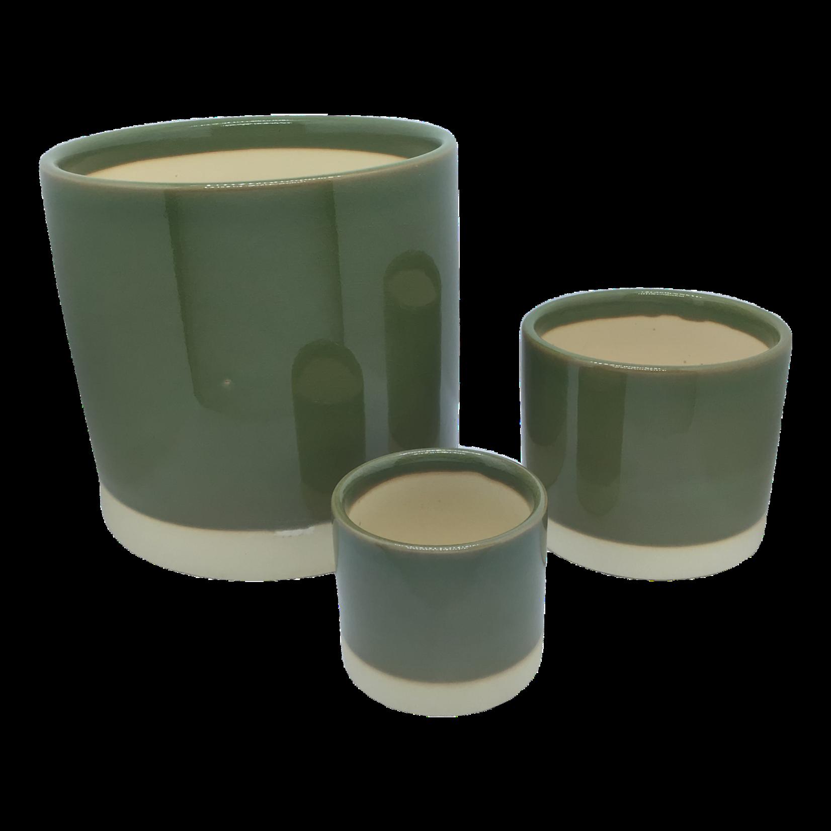 NLS Cache pot cér. Vert olive
