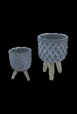 NLS Cache pot ciment + pieds bois