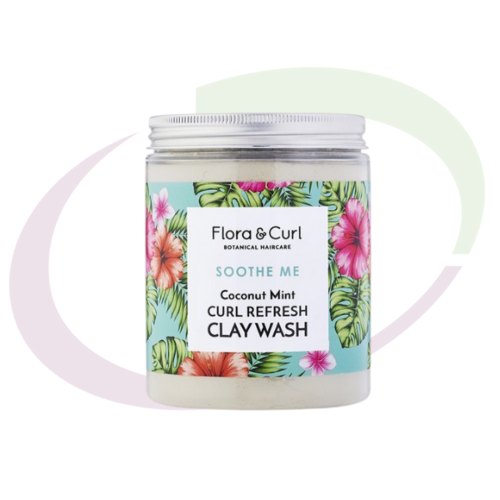 Flora & Curl Coconut Mint Curl Refresh Clay Wash, 260 gr